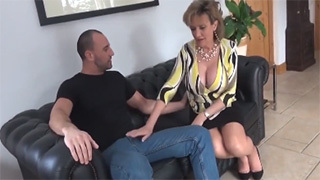 Young Man Fucks Horny Old Lady with Big Boobs