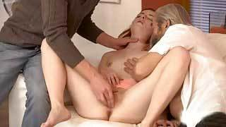 Two Old Men Fuck Young Woman in Hot Threesome
