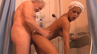 Young Girl Fucks Old Guy After Being Caught Masturbating