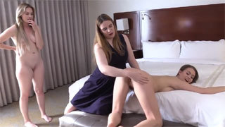 Lesbian Spanking with 2 Horny Teens