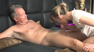 Lucky Old Man Gets Blowjob and Fucks Hot Teen