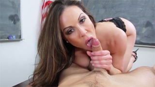 Brunette Milf Teacher Sucks Her Student's Dick in the Classroom